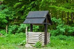 Γνήσιος ξύλινος καλά με τη μαύρη στέγη στο δάσος, έννοια των αυθεντικών αντικειμένων στις άγρια περιοχές, διάστημα αντιγράφων στοκ εικόνες με δικαίωμα ελεύθερης χρήσης