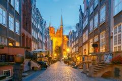 Γντανσκ Οδός Mariacka τη νύχτα Στοκ Εικόνα