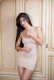Γοητεία της νέας γυναίκας brunette στο σφιχτό κατάλληλο κοντό nude φόρεμα που κλίνει ενάντια στον ξύλινο τοίχο Προκλητικό πανέμορ Στοκ εικόνες με δικαίωμα ελεύθερης χρήσης