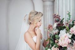 Γοητεία της νέας νύφης στο πολυτελές γαμήλιο φόρεμα Όμορφο κορίτσι, το στούντιο φωτογραφιών στοκ φωτογραφίες