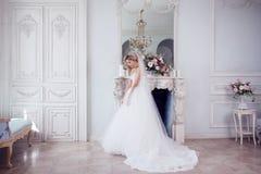 Γοητεία της νέας νύφης στο πολυτελές γαμήλιο φόρεμα Όμορφο κορίτσι, το στούντιο φωτογραφιών στοκ φωτογραφία