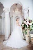 Γοητεία της νέας νύφης στο πολυτελές γαμήλιο φόρεμα Όμορφο κορίτσι, το στούντιο φωτογραφιών στοκ φωτογραφίες με δικαίωμα ελεύθερης χρήσης