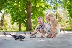 Γοητεία των ευτυχών παιδιών που ταΐζουν τα περιστέρια στοκ φωτογραφία