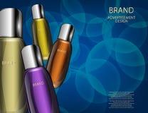 Γοητευτικά καλλυντικά μπουκάλια, βάζα στο λαμπιρίζοντας υπόβαθρο αποτελεσμάτων Στοκ Εικόνες