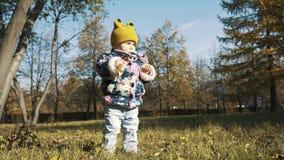 Γοητευτικά κορίτσι μούρα στο πάρκο φθινοπώρου φιλμ μικρού μήκους