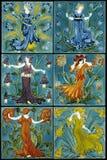 Γοητευτικές γυναίκες νεράιδων λουλουδιών Nouvea τέχνης καθορισμένες Στοκ Φωτογραφία