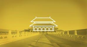 Γοητευτική απαγορευμένη έννοια φωτός του ήλιου ξημερωμάτων του Πεκίνου πόλεων Στοκ Φωτογραφία