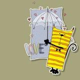 Γοητευτική γάτα κάτω από την ομπρέλα Στοκ εικόνα με δικαίωμα ελεύθερης χρήσης