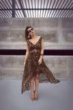 Γοητευτική γυναίκα στο ζωικό μεγάλου μεγέθους φόρεμα εξαρτήσεων τυπωμένων υλών στοκ εικόνα