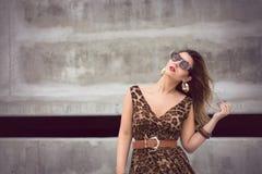 Γοητευτική γυναίκα στο ζωικό μεγάλου μεγέθους φόρεμα εξαρτήσεων τυπωμένων υλών στοκ φωτογραφία με δικαίωμα ελεύθερης χρήσης