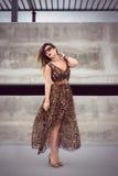 Γοητευτική γυναίκα στο ζωικό μεγάλου μεγέθους φόρεμα εξαρτήσεων τυπωμένων υλών στοκ εικόνες με δικαίωμα ελεύθερης χρήσης