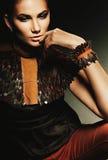 Γοητευτική γυναίκα στο καφετί κοστούμι δέρματος Στοκ εικόνες με δικαίωμα ελεύθερης χρήσης