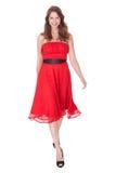 Γοητευτική γυναίκα στο κόκκινο φόρεμα Στοκ φωτογραφίες με δικαίωμα ελεύθερης χρήσης