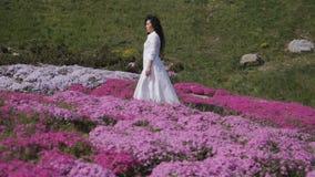 Γοητευτικοί περίπατοι brunette μεταξύ των ρόδινων flowerbeds στο βοτανικό κήπο φιλμ μικρού μήκους