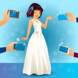 Γοητευτικός θηλυκός τραγουδιστής στο φόρεμα απεικόνιση αποθεμάτων