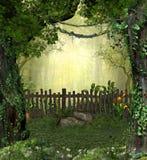 Γοητευτικός μαγικός κήπος νεράιδων στα ξύλα ελεύθερη απεικόνιση δικαιώματος