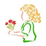 Γοητευτικός το σγουρός-μαλλιαρό παιδί με την ανθοδέσμη των λουλουδιών υπό εξέταση ελεύθερη απεικόνιση δικαιώματος