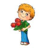 Γοητευτικό αγόρι που κρατά μια ανθοδέσμη των τριαντάφυλλων Στοκ φωτογραφία με δικαίωμα ελεύθερης χρήσης