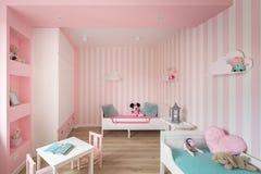 Γοητευτικό δωμάτιο κοριτσάκι στο ροζ στοκ φωτογραφίες