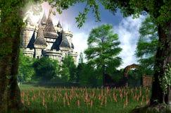 Γοητευτικό κρυμμένο κάστρο παραμυθιού πριγκηπισσών απεικόνιση αποθεμάτων