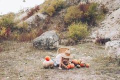 Γοητευτικό μικρό κορίτσι σε ένα καπέλο αχύρου, ψάθινη καρέκλα, κολοκύθες Στοκ Φωτογραφία