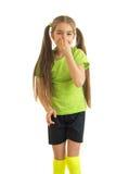 Γοητευτικό πορτρέτο ενός μικρού κοριτσιού με τις μακριές ουρές Στοκ Εικόνες