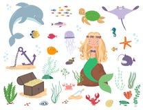 Γοργόνα, ζώα θάλασσας και φύκι η αλλοδαπή γάτα κινούμενων σχεδίων δραπετεύει το διάνυσμα στεγών απεικόνισης διανυσματική απεικόνιση