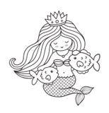 Γοργόνα με τα ψάρια ελεύθερη απεικόνιση δικαιώματος