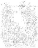 Γοργόνα μυστηρίου θάλασσας, σκάφος και εικόνα ζώων για το χρωματισμό ή τη διανυσματική απεικόνιση υποβάθρου Στοκ Εικόνες