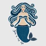 γοργόνα Συρμένο χέρι κορίτσι θάλασσας Όμορφη γυναίκα με την ουρά Θαλάσσιο θερινό σχέδιο Nixie με την άγρια τρίχα Καλοκαίρι Στοκ Εικόνα
