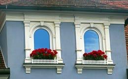Γοτθικά παράθυρα με τις διακοσμήσεις και το κόκκινο gerania Στοκ Φωτογραφίες