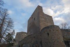 Γοτθική δημόσια καταστροφή κάστρων Velhartice, Czechia, arcade, γέφυρα, πύργος τοίχων, πύλη Στοκ Εικόνα