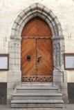 Γοτθική ξύλινη πόρτα με τα στοιχεία διακοσμήσεων Στοκ Εικόνες