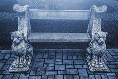 Γοτθικός πάγκος στο μυστικό πάρκο στοκ φωτογραφίες με δικαίωμα ελεύθερης χρήσης