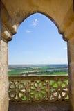 γοτθικό παράθυρο της Ισπανίας τοπίων κάστρων Στοκ Εικόνες