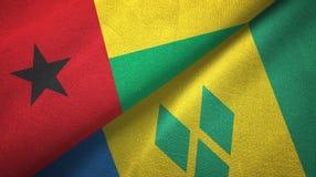 Γουινέα-Μπισσάου και Άγιος Βικέντιος και Γρεναδίνες δύο υφαντικό ύφασμα σημαιών απεικόνιση αποθεμάτων