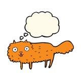 γούνινη γάτα κινούμενων σχεδίων με τη σκεπτόμενη φυσαλίδα Στοκ Φωτογραφία