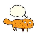 γούνινη γάτα κινούμενων σχεδίων με τη σκεπτόμενη φυσαλίδα Στοκ φωτογραφία με δικαίωμα ελεύθερης χρήσης