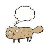 γούνινη γάτα κινούμενων σχεδίων με τη σκεπτόμενη φυσαλίδα Στοκ Φωτογραφίες