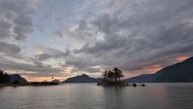 Γούνινος κολπίσκος στο ηλιοβασίλεμα στοκ εικόνες
