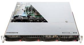 Γούρνα διαγώνιων περικοπών ένας κεντρικός υπολογιστής με τα ράφια που απομονώνονται στο άσπρο backgr Στοκ εικόνες με δικαίωμα ελεύθερης χρήσης