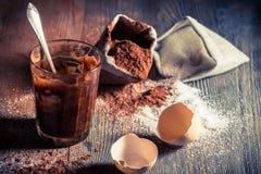 Γούστο της παιδικής ηλικίας, του λέκιθου αυγών με τη ζάχαρη και του κακάου Στοκ Φωτογραφία