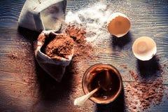 Γούστο της παιδικής ηλικίας, του λέκιθου αυγών με τη ζάχαρη και του κακάου Στοκ εικόνα με δικαίωμα ελεύθερης χρήσης