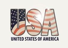 Γράμματα ΗΠΑ με την εικόνα της αμερικανικής σημαίας Στοκ Εικόνες