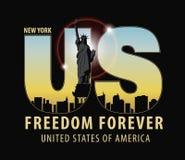 Γράμματα ΗΠΑ με την εικόνα του αγάλματος της ελευθερίας Στοκ εικόνες με δικαίωμα ελεύθερης χρήσης