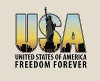 Γράμματα ΗΠΑ με την εικόνα του αγάλματος της ελευθερίας Στοκ Φωτογραφίες