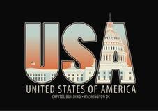 Γράμματα ΗΠΑ με την εικόνα του κτηρίου Capitol Στοκ Φωτογραφίες