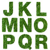 Γράμματα j, Κ, λ, μ, ν, ο, π, q, ρ φιαγμένο από πράσινη χλόη Στοκ Φωτογραφίες