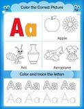 Γράμμα Α εκμάθησης και χρώματος αλφάβητου Στοκ φωτογραφία με δικαίωμα ελεύθερης χρήσης