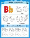 Γράμμα Β εκμάθησης και χρώματος αλφάβητου Στοκ φωτογραφία με δικαίωμα ελεύθερης χρήσης
